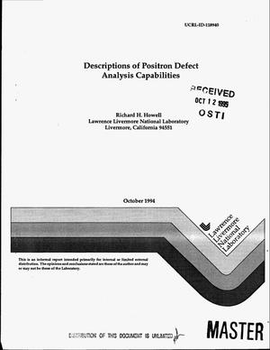 Primary view of object titled 'Descriptions of positron defect analysis capabilities'.