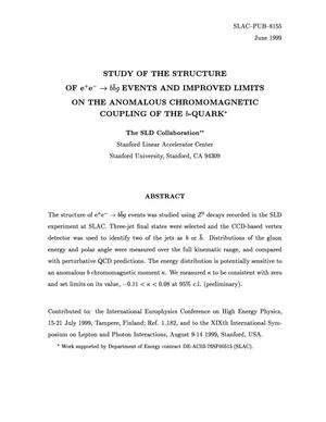 Primary view of object titled 'Study of the Structure of e{sup +}e{sup {minus}} {r_arrow} b{bar b}g Events and Improved Limits on the Anomalous Chromomagnetic Coupling of the b-Quark'.
