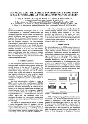 Primary view of object titled 'MM-wave cavity/klystron developments using deep x-ray lithography at the Advanced Photon Source.'.