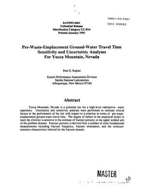 Primary view of object titled 'Pre-waste-emplacement ground-water travel time sensitivity and uncertainty analyses for Yucca Mountain, Nevada; Yucca Mountain Site Characterization Project'.