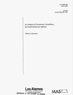 Primary view of object titled 'An analysis of containment, surveillance, and authentication for software'.