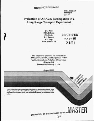 Primary view of object titled 'Evaluation of ARAC`s participation in a long-range transport experiment'.