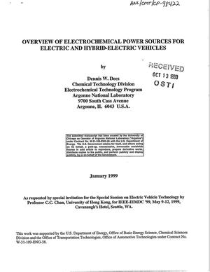 Primary view of object titled 'Overview of electrochemical power sources for electric and hybrid-electric vehicles.'.