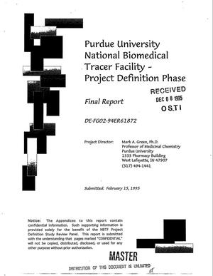 Primary view of object titled 'Purdue University National Biomedical Tracer Facility: Project definition phase. Final report'.