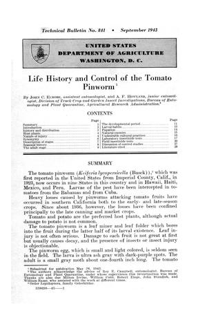 Primary view of object titled 'Life history and control of the tomato pinworm.'.