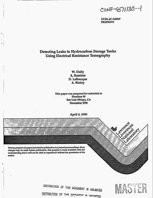 Primary view of object titled 'Detecting leaks in hydrocarbon storage tanks using electrical resistance tomography'.
