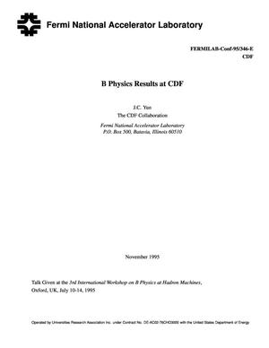 Primary view of object titled 'B physics results at CDF'.