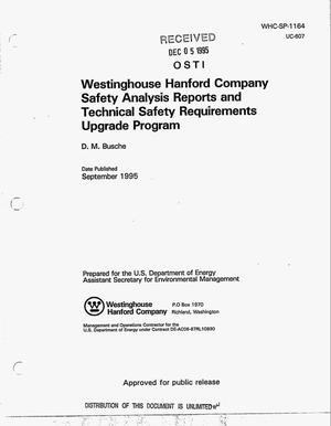 Primary view of object titled 'Westinghouse Hanford Company safety analysis reports and technical safety requirements upgrade program'.