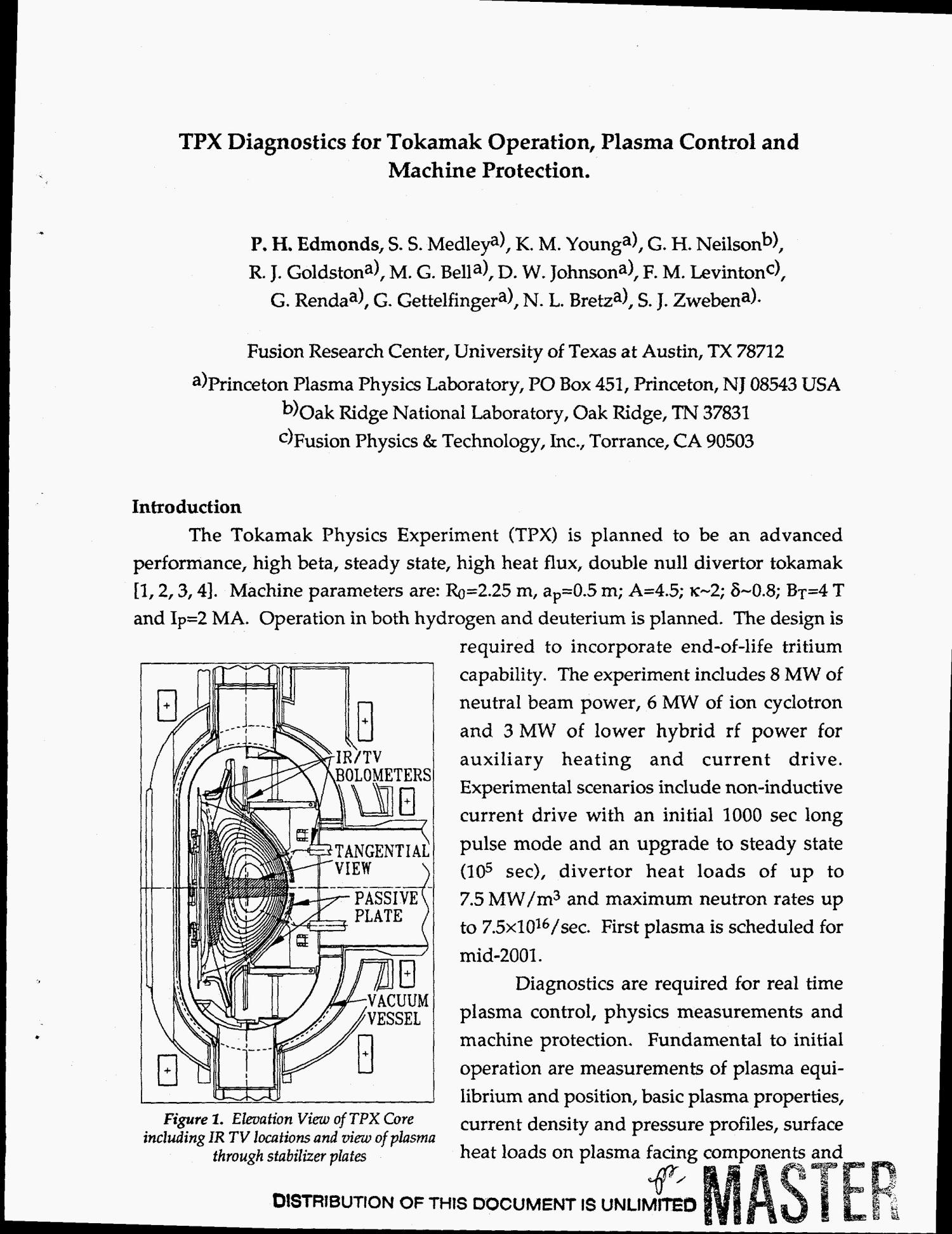 TPX diagnostics for tokamak operation, plasma control and machine protection                                                                                                      [Sequence #]: 4 of 8
