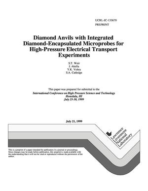 Primary view of object titled 'Diamond anvils with integrated diamond-encapsulated microprobes for high-pressure electrical transport experiments'.