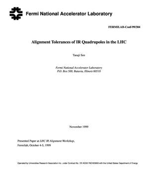 Primary view of object titled 'Alignment tolerances of IR quadrupoles in the LHC'.