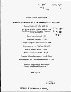 Primary view of object titled 'Improved techniques for fluid diversion in oil recovery. Quarterly technical progress report, July 1, 1995--September 30, 1995'.