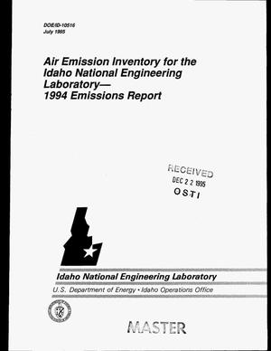 Primary view of object titled 'Air emission inventory for the Idaho National Engineering Laboratory: 1994 emissions report'.
