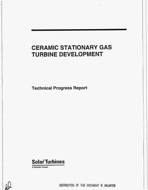 Primary view of object titled 'Ceramic Stationary Gas Turbine Development. Technical progress report, April 1, 1993--October 31, 1994'.