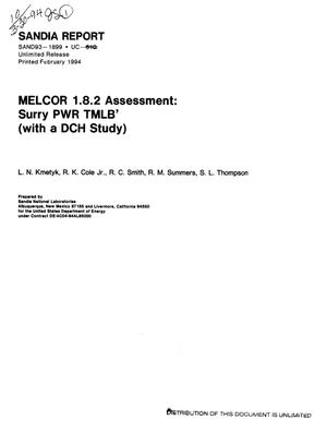 Primary view of object titled 'MELCOR 1.8.2 assessment: Surry PWR TMLB` (with a DCH study)'.