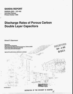 Primary view of object titled 'Discharge rates of porous carbon double layer capacitors'.