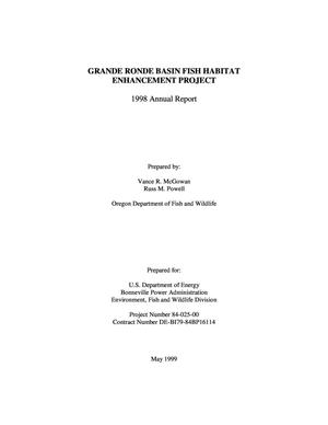 Primary view of object titled 'Grande Ronde Basin Fish Habitat Enhancement Project : 1998 Annual Report.'.