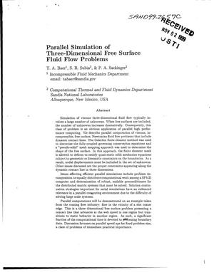 Primary view of object titled 'Parallel Simulation of Three-Dimensional Free Surface Fluid Flow Problems'.