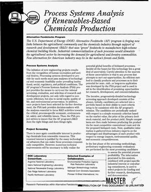 Primary view of object titled 'Process system analysis of renewables-based chemicals production'.