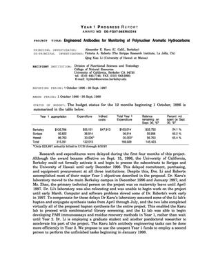 Primary view of object titled 'Engineered antibodies for monitoring of polynuclear aromatic hydrocarbons. Annual progress report, October 1, 1996--September 30, 1997'.