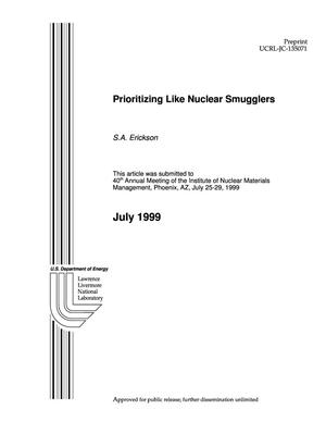 Primary view of object titled 'Prioritizing like nuclear smugglers'.