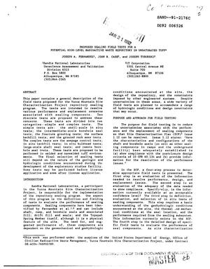 Primary view of object titled 'Proposed sealing field tests for a potential high-level radioactive waste repository in unsaturated tuff'.