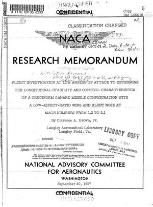 Primary view of object titled 'Flight investigation at low angles of attack to determine the longitudinal stability and control characteristics of a cruciform canard missile configuration with a low-aspect-ratio wing and blunt nose at Mach numbers from 1.2 to 2.1'.