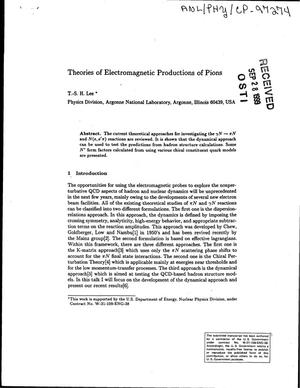Primary view of object titled 'Theories of electromagnetic productions of pions.'.