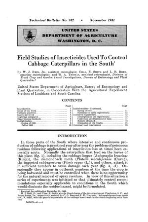 Primary view of object titled 'Field studies of insecticides used to control cabbage caterpillars in the South.'.