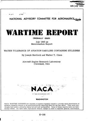 Primary view of object titled 'Water tolerance of aviation gasoline containing xylidines'.