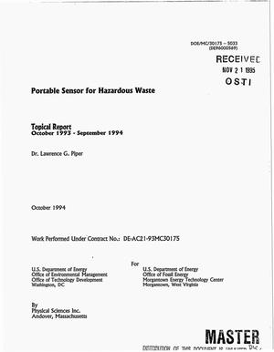Primary view of object titled 'Portable sensor for hazardous waste. Topical report, October 1993--September 1994'.