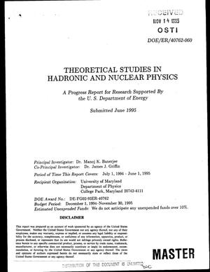Primary view of object titled 'Theoretical studies in hadronic and nuclear physics. Progress report, July 1, 1994--June 1, 1995'.