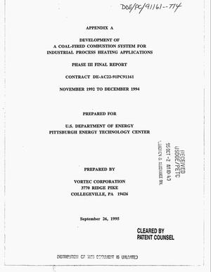 Primary view of object titled 'Development of a coal-fired combustion system for industrial processing heating applications: Appendix A. Phase 3 final report, November 1992--December 1994'.