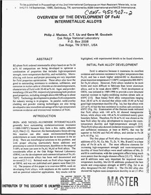Primary view of object titled 'Overview of the development of FeAl intermetallic alloys'.