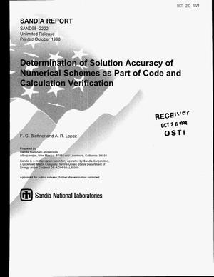 Primary view of object titled 'Determination of Solution Accuracy of Numerical Schemes as Part of Code and Calculation Verification'.