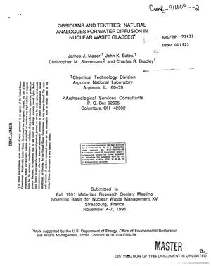 Primary view of object titled 'Obsidians and tektites: Natural analogues for water diffusion in nuclear waste glasses'.