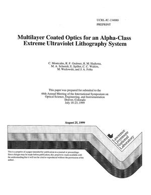 Primary view of object titled 'Multilayer coated optics for an alpha-class extreme ultraviolet lithography system'.