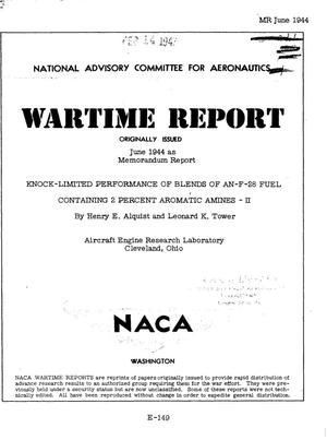 Primary view of object titled 'Knock-limited performance of blends of AN-F-28 fuel containing 2 percent aromatic amines II'.