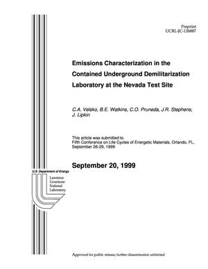 Primary view of object titled 'Emissions characterization in the contained underground demilitarization laboratory at Nevada Test Site'.