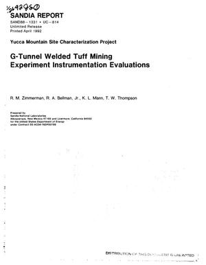 Primary view of object titled 'G-Tunnel Welded Tuff Mining Experiment instrumentation evaluations; Yucca Mountain Site Characterization Project'.