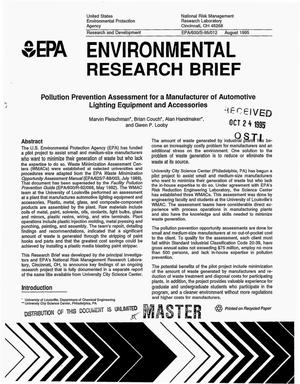 Primary view of object titled 'Environmental research brief: Pollution prevention assessment for a manufacturer of automotive lighting equipment and accessories'.