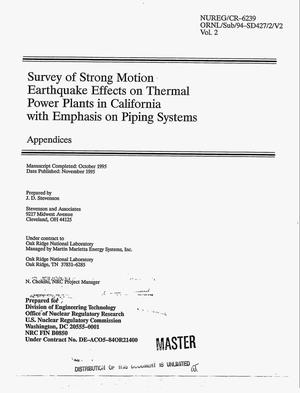 Primary view of object titled 'Survey of strong motion earthquake effects on thermal power plants in California with emphasis on piping systems. Volume 2, Appendices'.
