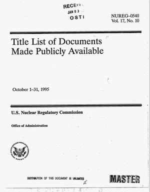 Primary view of object titled 'Title list of documents made publicly available. Volume 17, No. 10'.