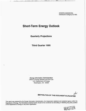Primary view of object titled 'Short-term energy outlook. Quarterly projections, Third quarter 1995'.