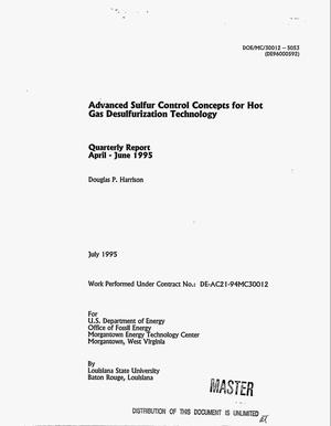 Primary view of object titled 'Advanced sulfur control concepts for hot gas desulfurization technology. Quarterly report, April--June 1995'.