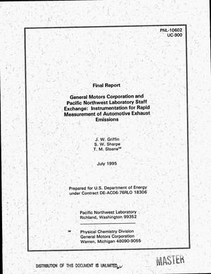 Primary view of object titled 'General Motors Corporation and Pacific Northwest Laboratory Staff Exchange: Instrumentation for rapid measurement of automotive exhaust emissions'.