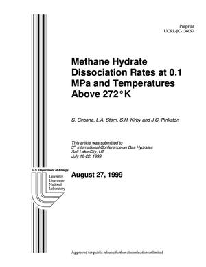 Primary view of object titled 'Methane hydrate dissociation rates as 0.1 MPa and temperatures above 272K'.