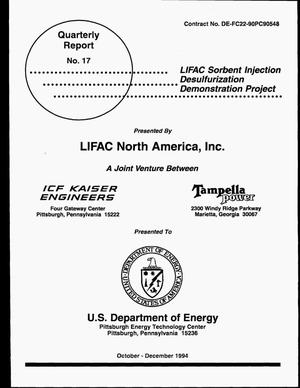 Primary view of object titled 'LIFAC Sorbent Injection Desulfurization Demonstration Project. Quarterly report number 17, October--December 1994'.