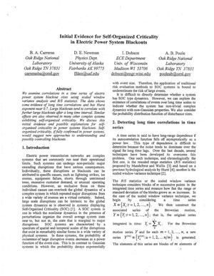 Primary view of object titled 'Initial Evidence for Self-Organized Criticality in Electric Power System Blackouts'.