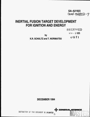 Primary view of object titled 'Inertial fusion target development for ignition and energy'.